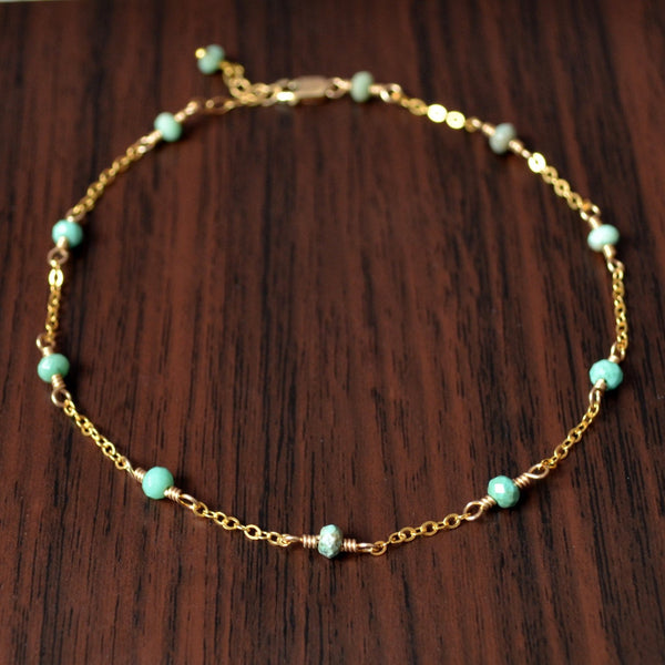 Gold Anklet, Made to Order, Mint Green Chrysoprase Gemstones