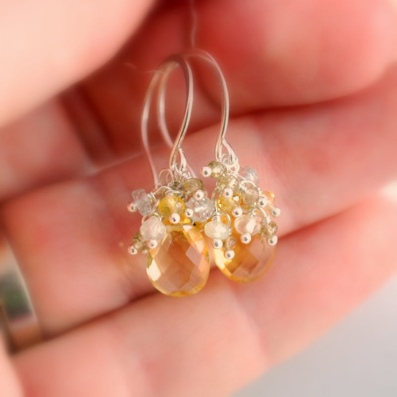 Citrine Earrings with Genuine Sapphires and Prehnite Aquamarine Gemstone