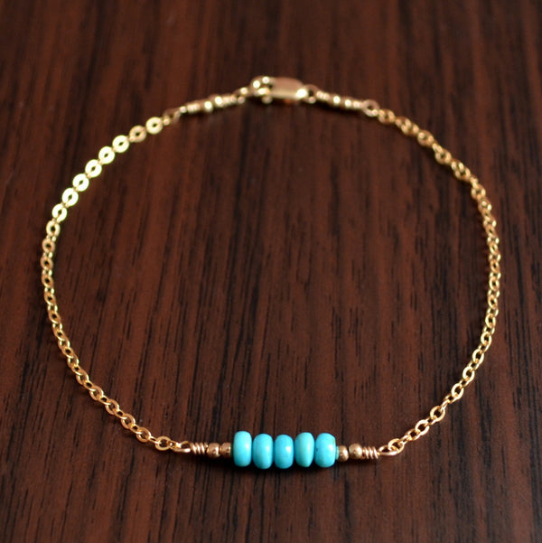 Real Turquoise Bridesmaid Bracelet in Silver or Gold