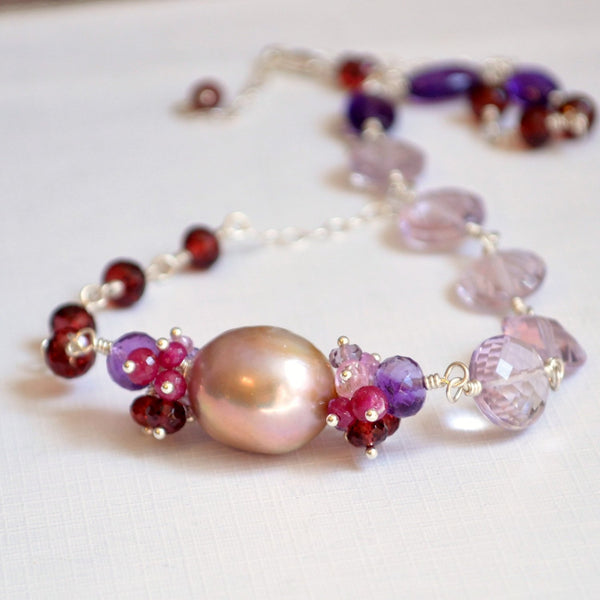 Pink Amethyst and Garnet Necklace