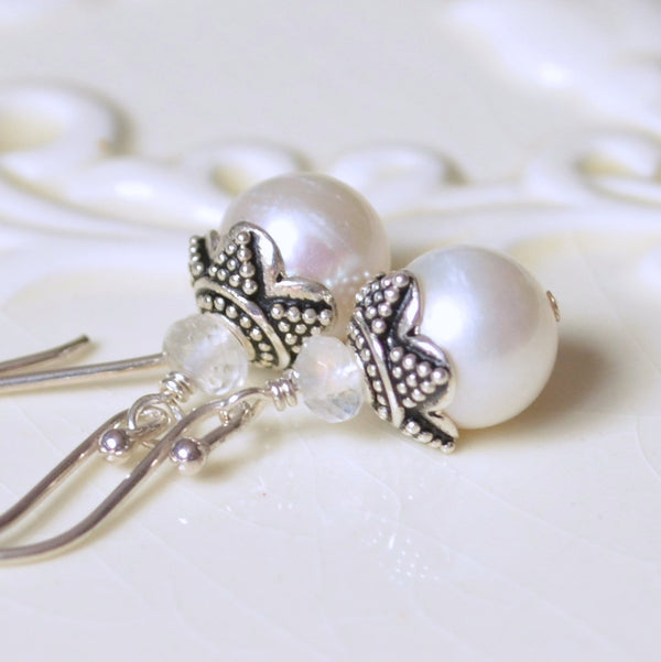 Pearl Bridal Earrings with Rainbow Moonstone - Elegance