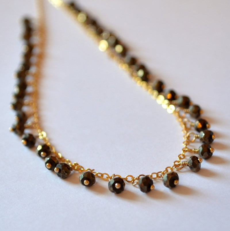 Pyrite Fringe Necklace