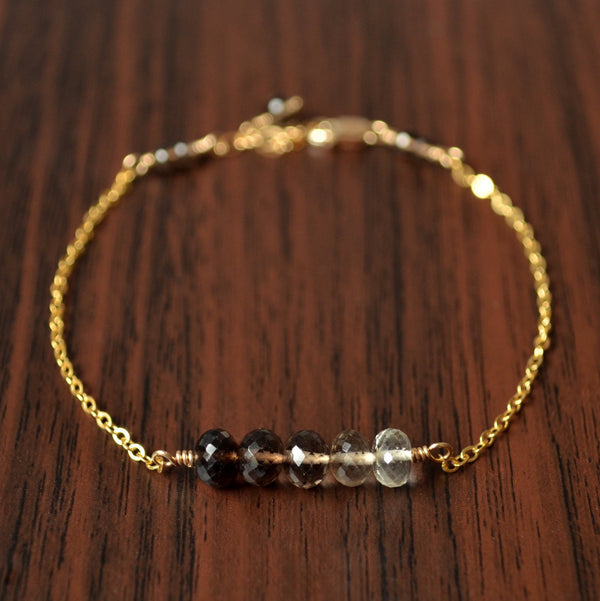 Simple Smoky Quartz Bracelet, Brown Ombre