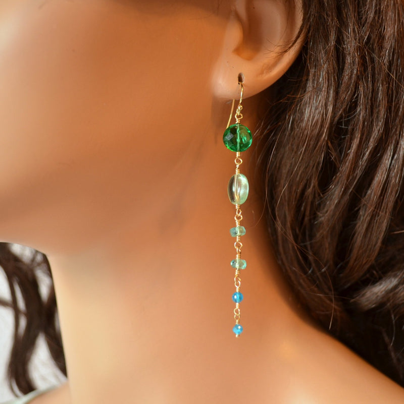 Long Aqua Earrings, Gemstone, and Emerald Green Quartz