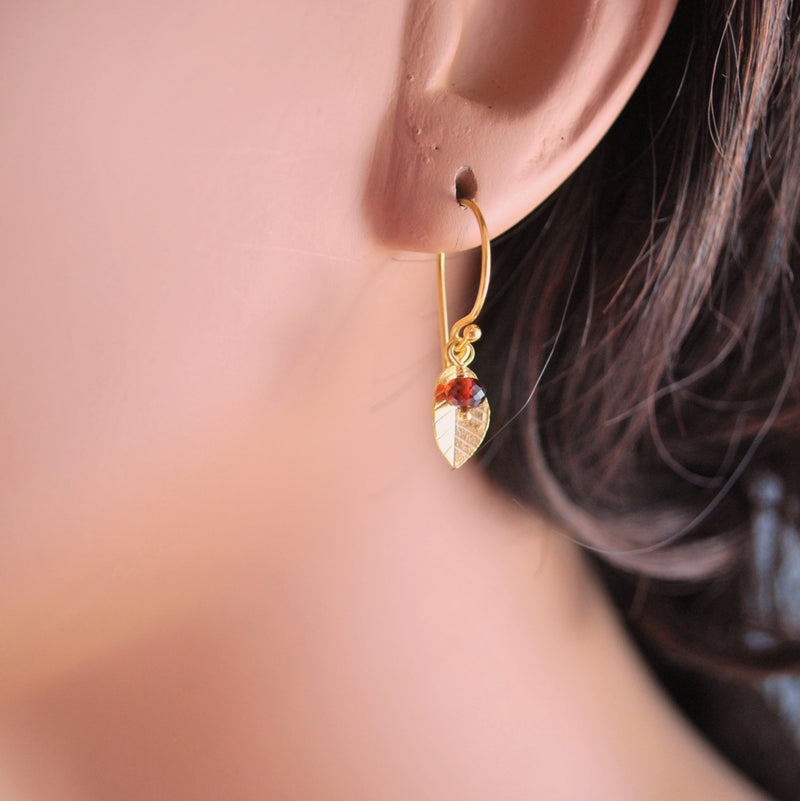 Custom Gold Leaf Earrings For Mom
