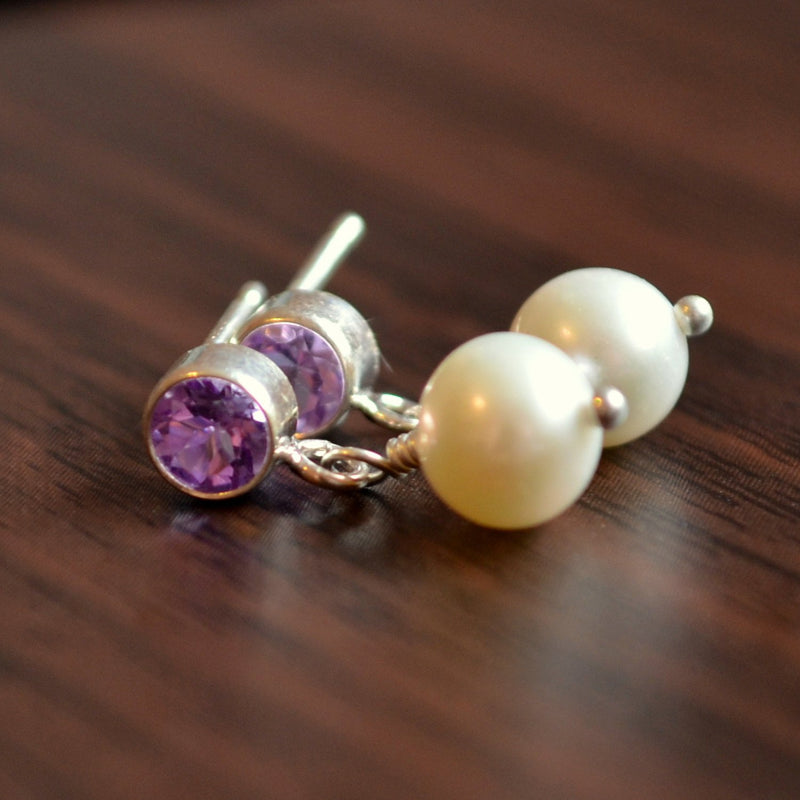 Pearl Drop Earrings with Amethysts