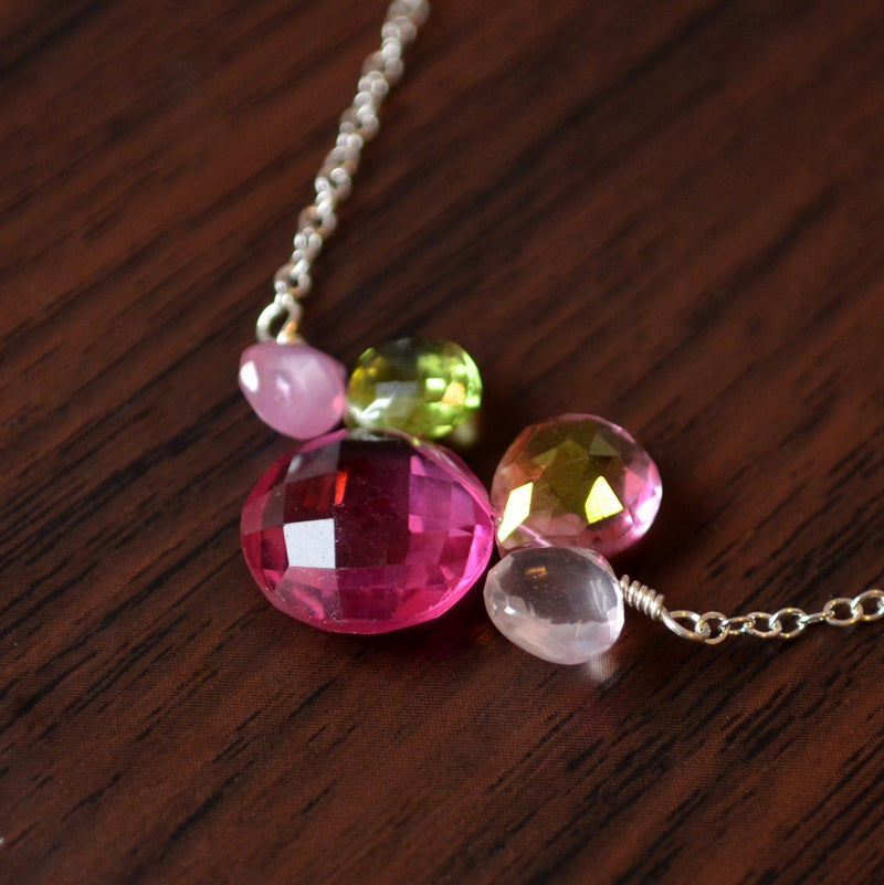 Green and Pink Gemstone Necklace