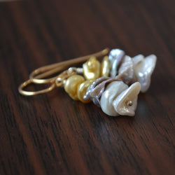 Gold and Silver Keishi Pearl Stack Earrings