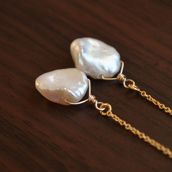 White Keshi Pearl Threader Earrings in Gold or Silver