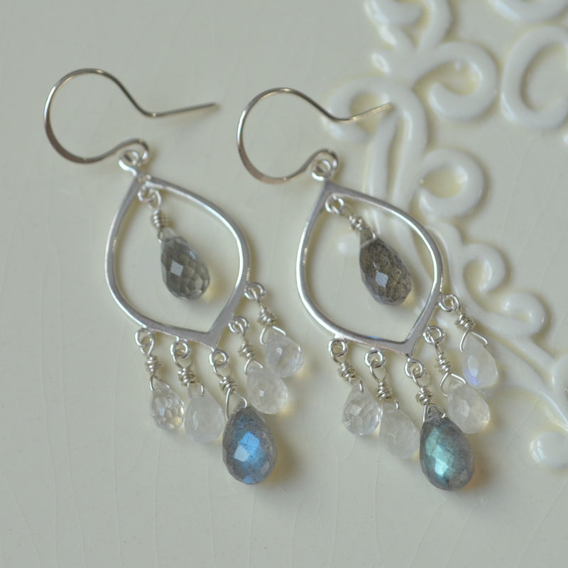 Moonstone and Labradorite Chandelier Earrings