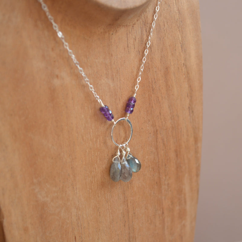 Labradorite Necklace with Tiny Amethysts