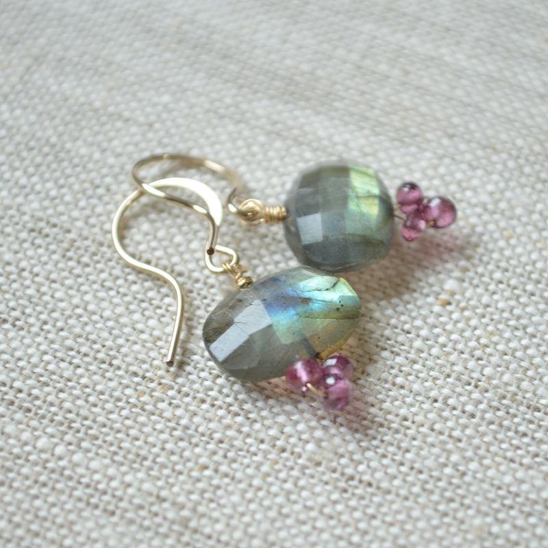 Labradorite Drop Earrings with Rhodolite Garnets