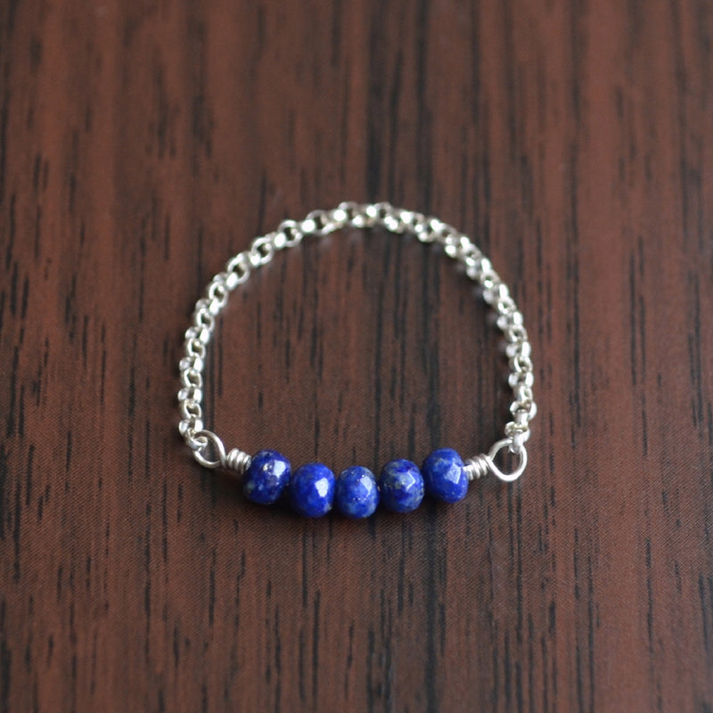 Lapis Lazuli Chain Ring in Sterling Silver