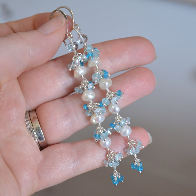 Long Pearl and Blue Topaz Cluster Earrings - Frosty Trail
