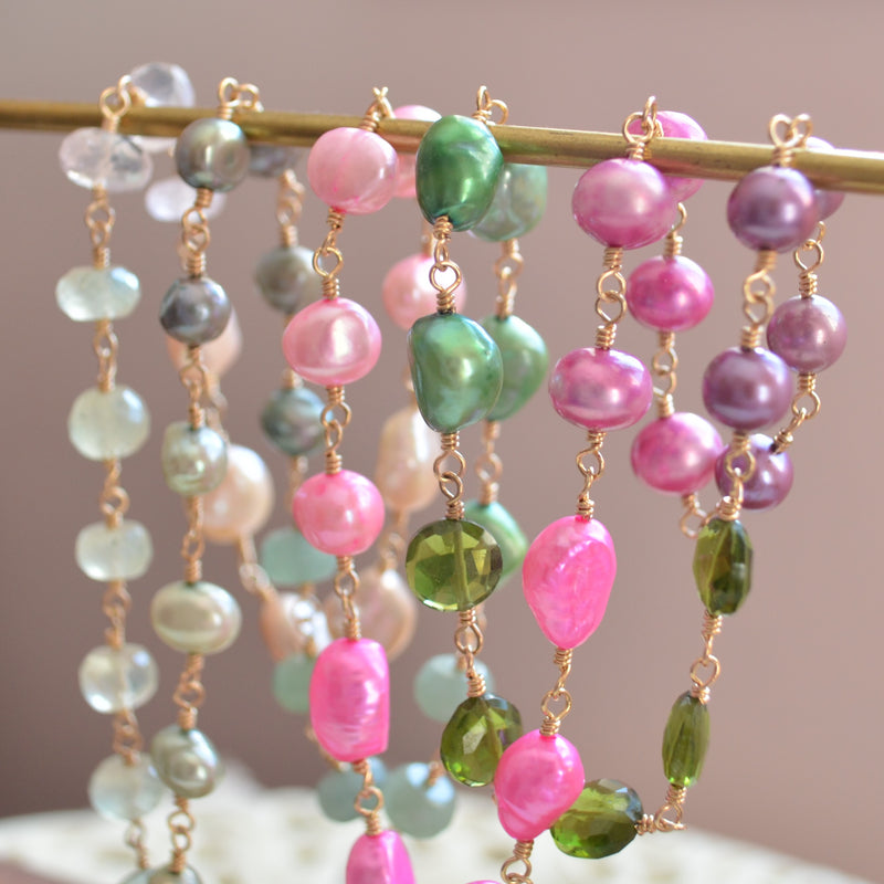 Long Pink and Green Pearl Necklace - Changing Spring