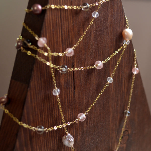 Gold Wrap Necklace with Pink Topaz and Smoky Quartz