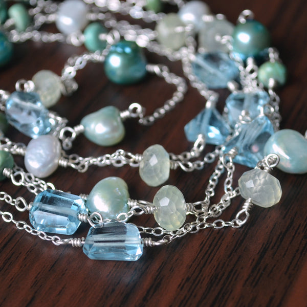 Long Wrap Necklace in Silver with Blue Topaz and Turquoise