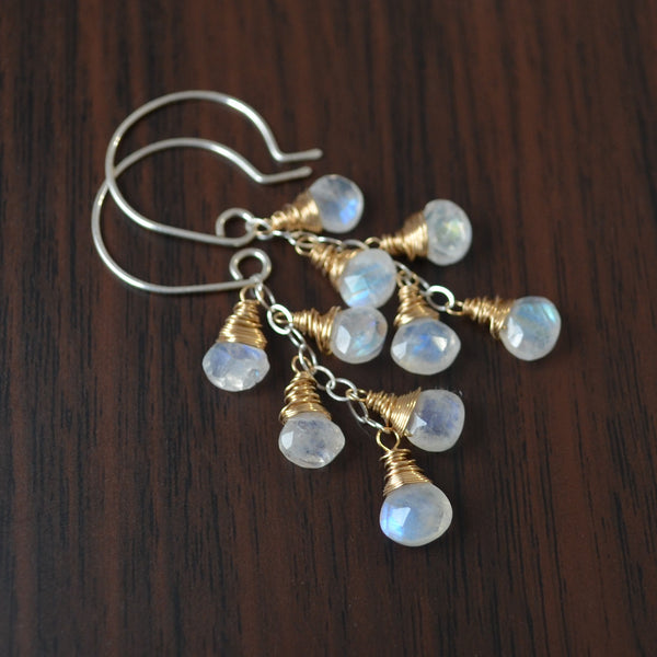 Rainbow Moonstone Dangle Earrings in Mixed Metals