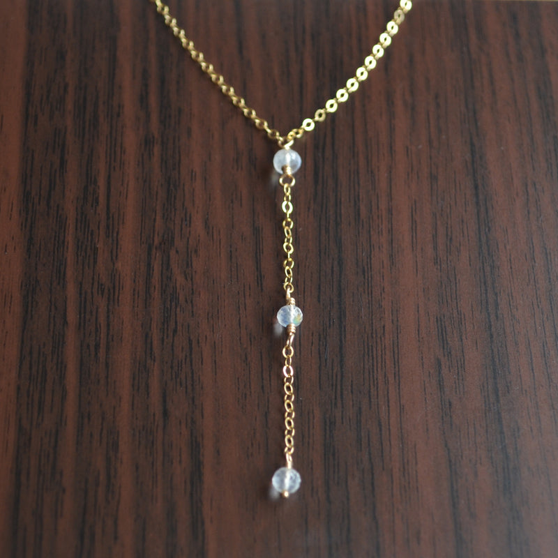 Dainty Moonstone Y Necklace in Gold or Silver