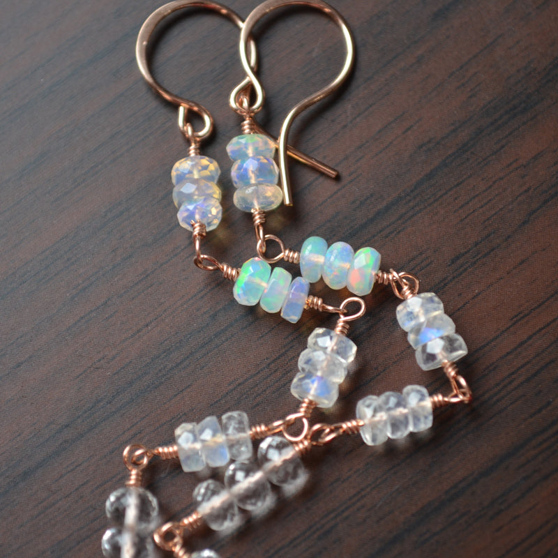 Long Opal Earrings in Rose Gold with Moonstones and Quartz