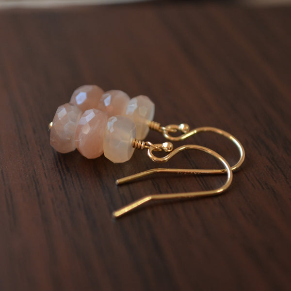 Peach Moonstone Drop Earrings in Gold