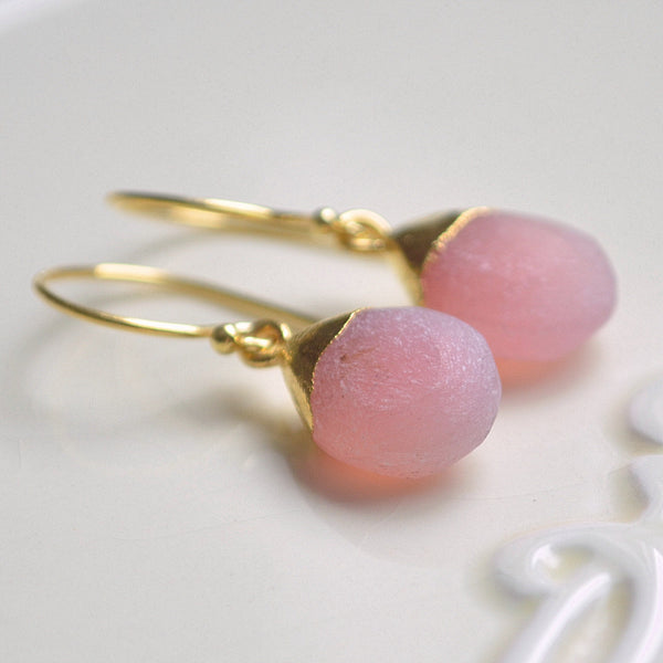 Frosted Pink Chalcedony Earrings in Gold Vermeil