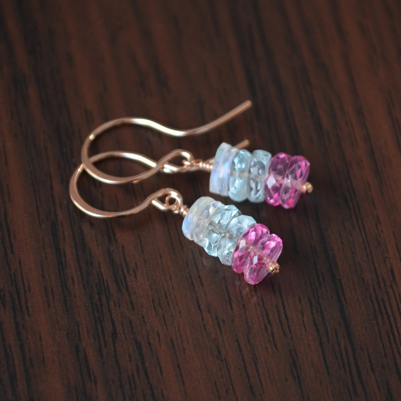 Pink Topaz Earrings with Aquamarine and Moonstone in Rose Gold