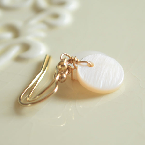Pink Mother of Pearl Earrings in Gold
