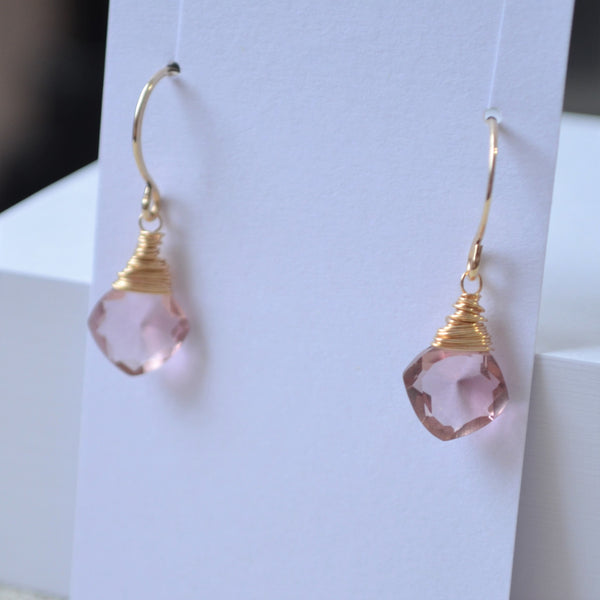 Soft Plum Quartz Earrings in Gold or Silver