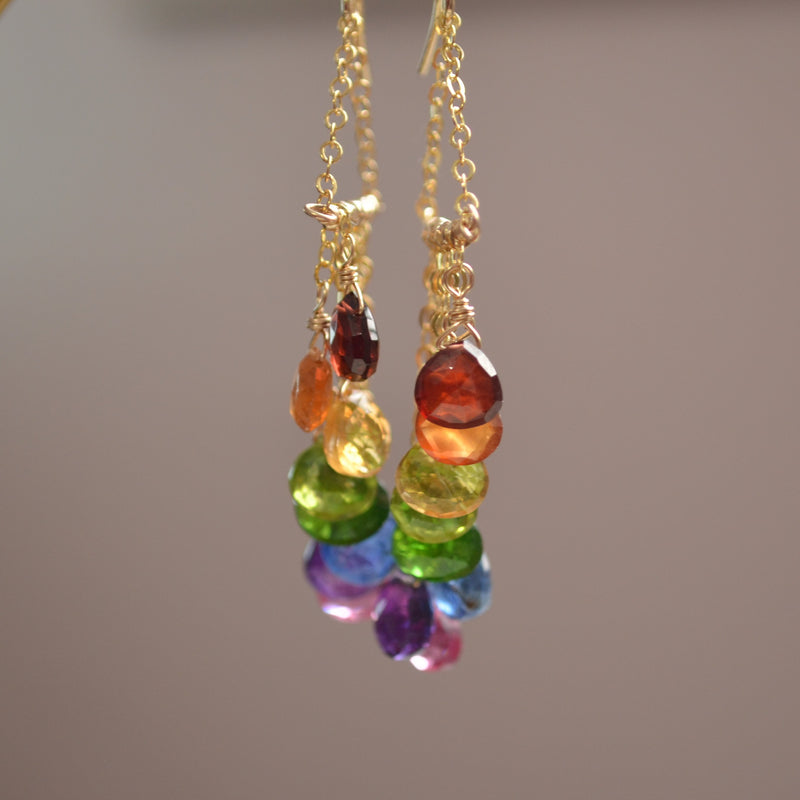 Rainbow Statement Earrings in Gold