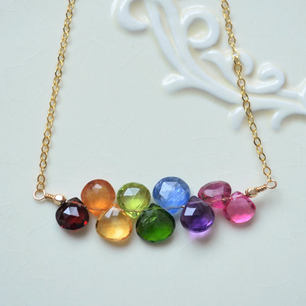 Rainbow Gemstone Necklace in Gold