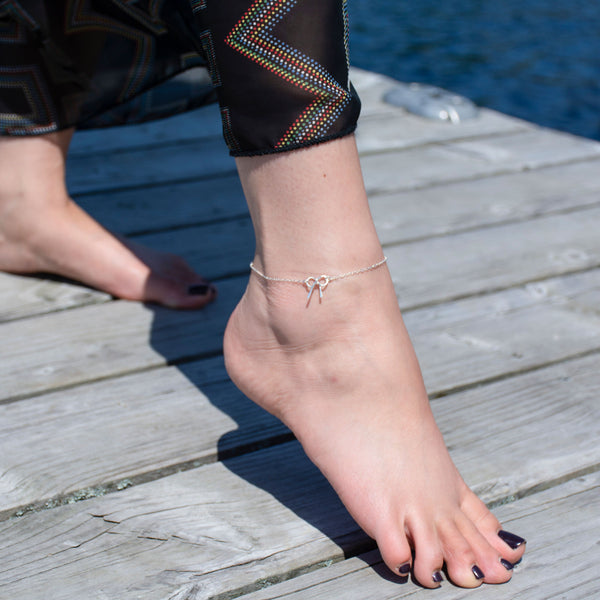 Sterling Silver Bow Anklet