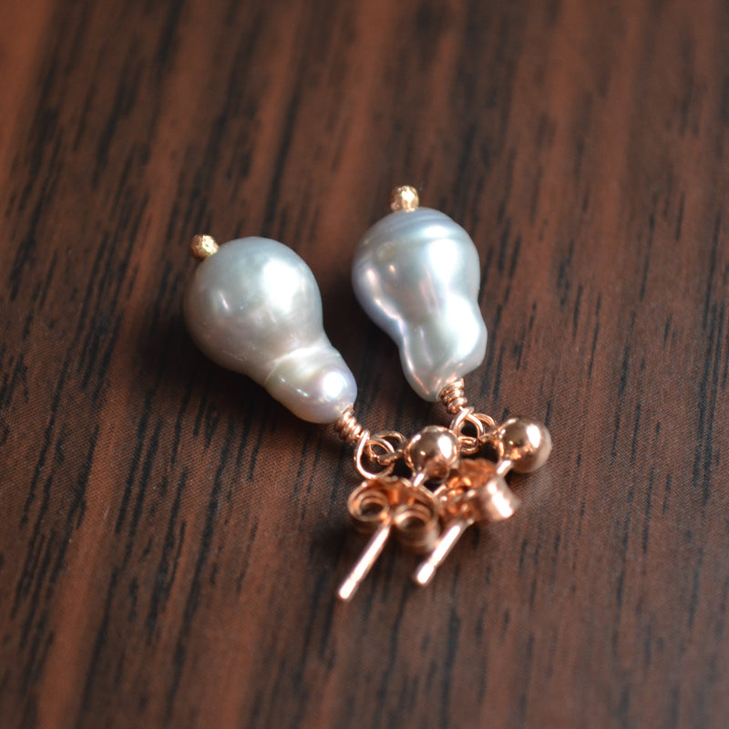 Silver Akoya Drop Pearl Earrings in Rose Gold