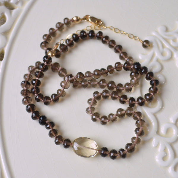 Smoky Quartz Hand Knotted Necklace