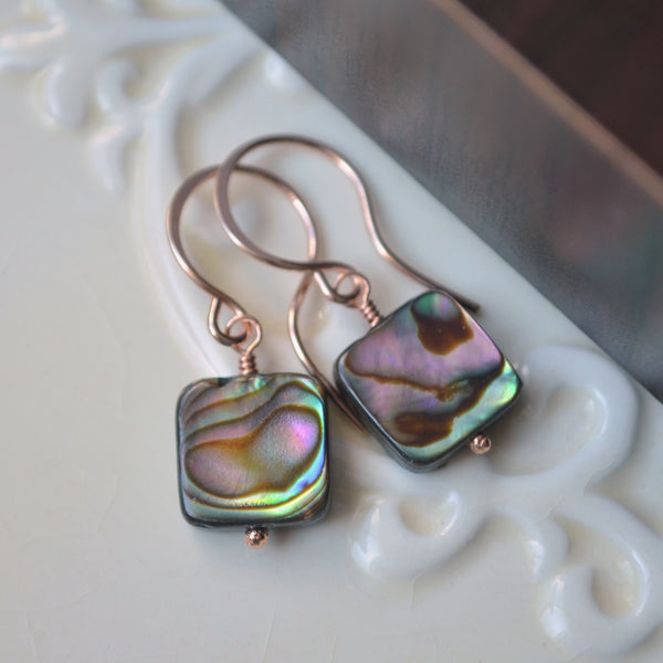 Square Abalone Earrings in Rose Gold