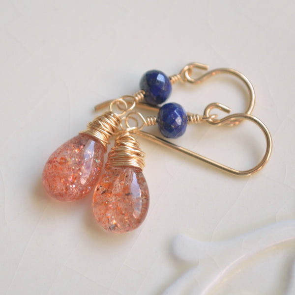 Sunstone Earrings with Lapis Lazuli in Gold