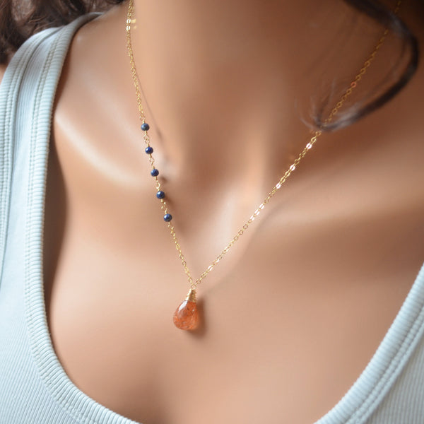 Burnt Orange Sunstone Necklace with Lapis Lazuli