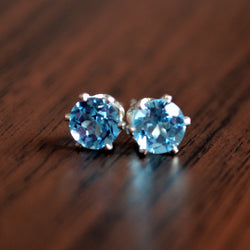 Swiss Blue Topaz Stud Earrings in Silver