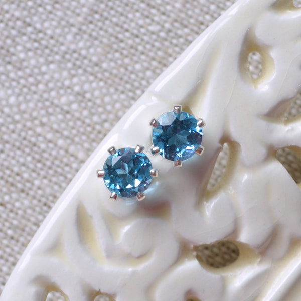 Large Swiss Blue Topaz Stud Earrings in Silver