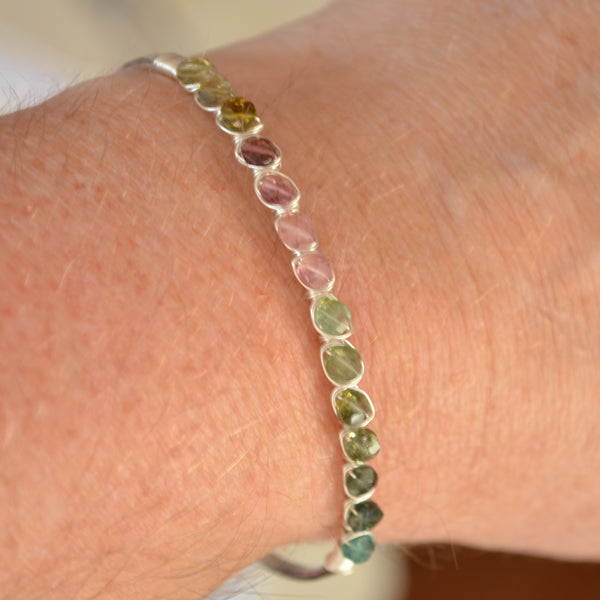 Slim Tourmaline Cuff Bracelet in Sterling Silver