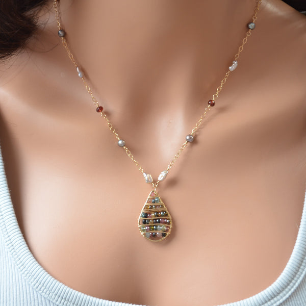 Gold Pendant Necklace with Tourmaline, Garnet and Pearls