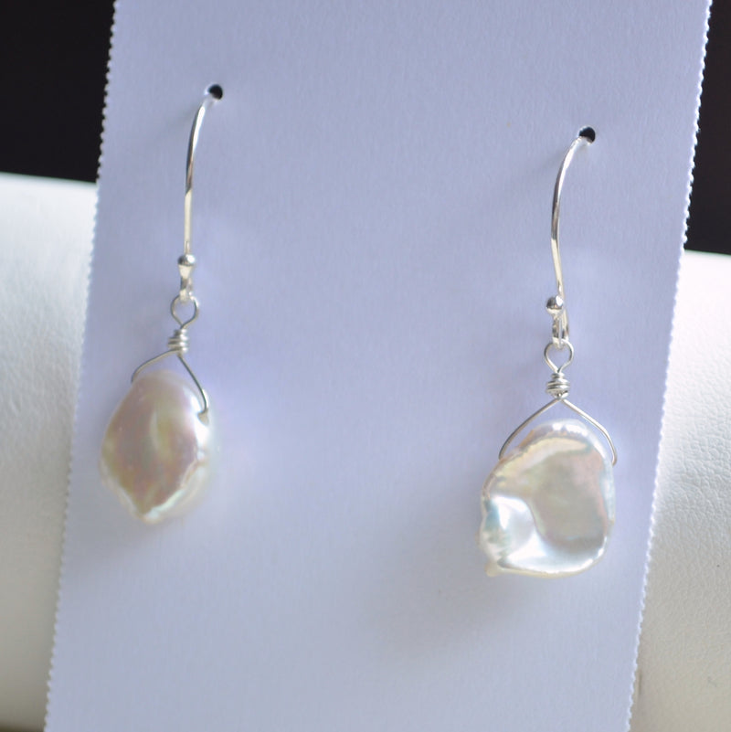 White Keishi Pearl Earrings in Sterling Silver