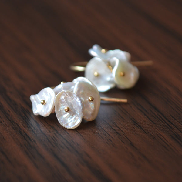 White Keshi Pearl Earrings in Gold