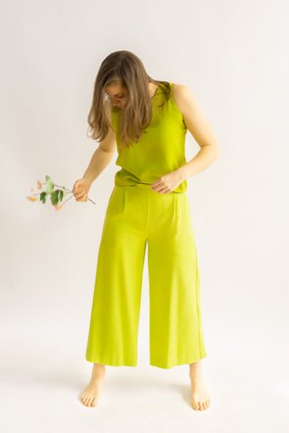 One-off Judy Culottes in Chartreuse- Upcycled Trousers, Size M