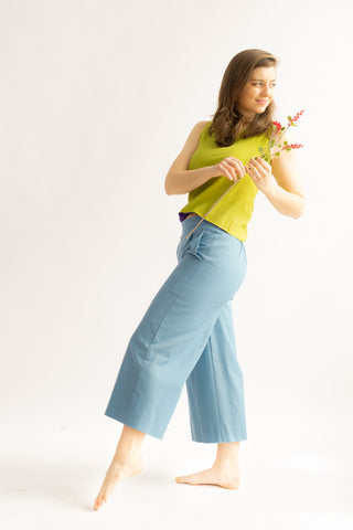 One-off Judy Culottes in Sky- Upcycled Trousers, Size M