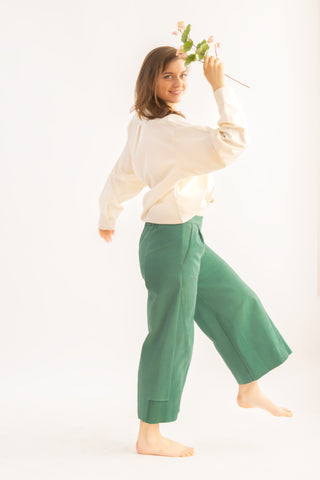 One-off Judy Culottes in Forest- Upcycled Trousers, Size M