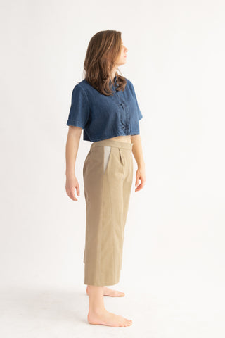 One-off Judy Culottes in Sand and Fawn- Upcycled Trousers, Size L