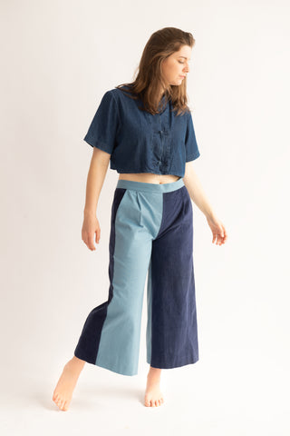 One-off Judy Weekender Culottes in Sky and Deep Ocean- Upcycled Trousers, Size L