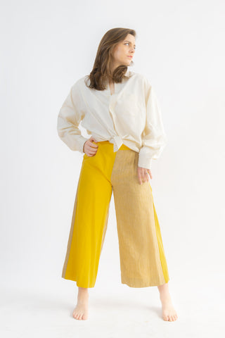 One-off Judy Weekender Culottes in Canary & Striped Tan- Upcycled Trousers, Size M