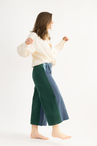 Judy Culottes in Tricolor- Forest, Sky, and Azurite- Trousers, Size M